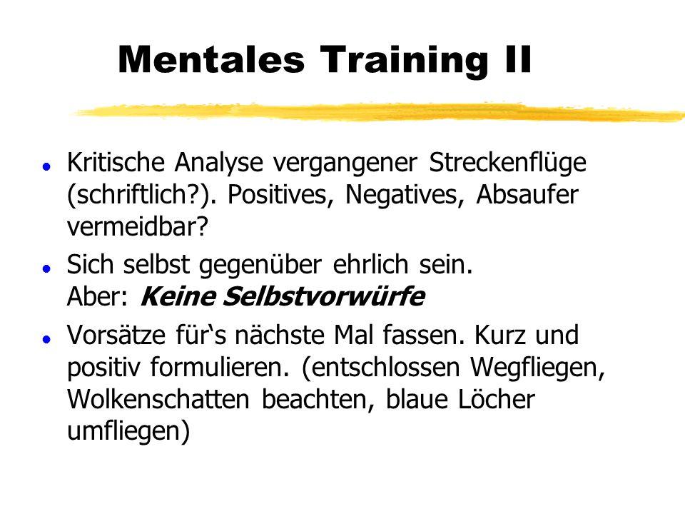 Mentales Training I l Streckenfliegen spielt sich im Kopf ab l Vorausdenken beim Fliegen l Entscheidungen treffen und durchführen (Größter Lerneffekt)