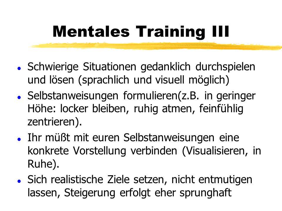 Mentales Training II l Kritische Analyse vergangener Streckenflüge (schriftlich?). Positives, Negatives, Absaufer vermeidbar? l Sich selbst gegenüber