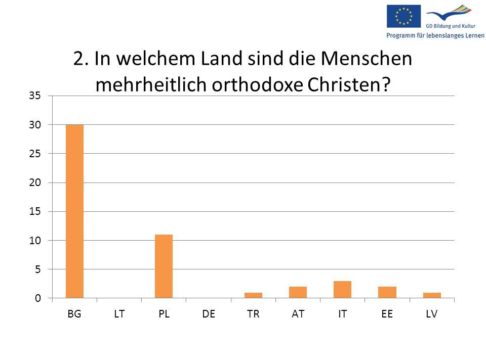 2. In welchem Land sind die Menschen mehrheitlich orthodoxe Christen?