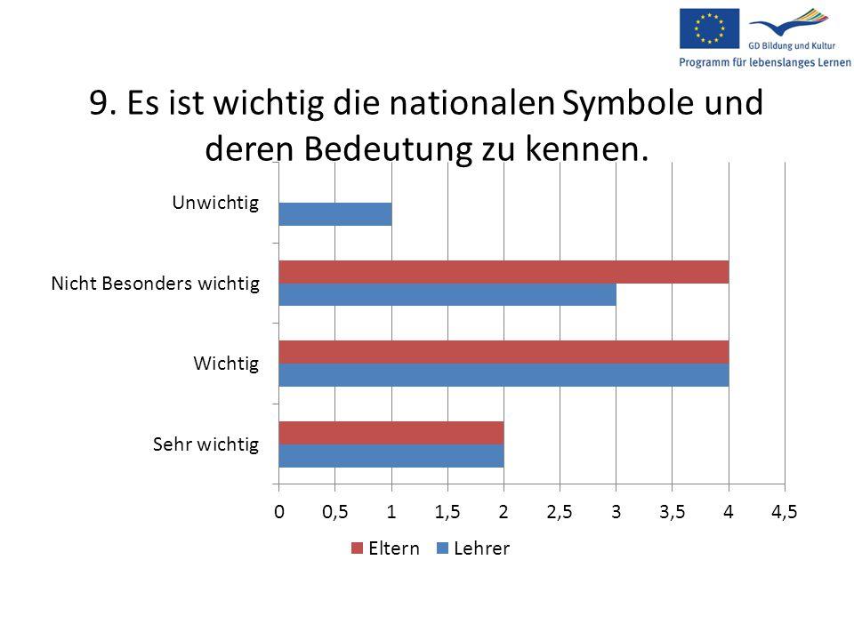 9. Es ist wichtig die nationalen Symbole und deren Bedeutung zu kennen.