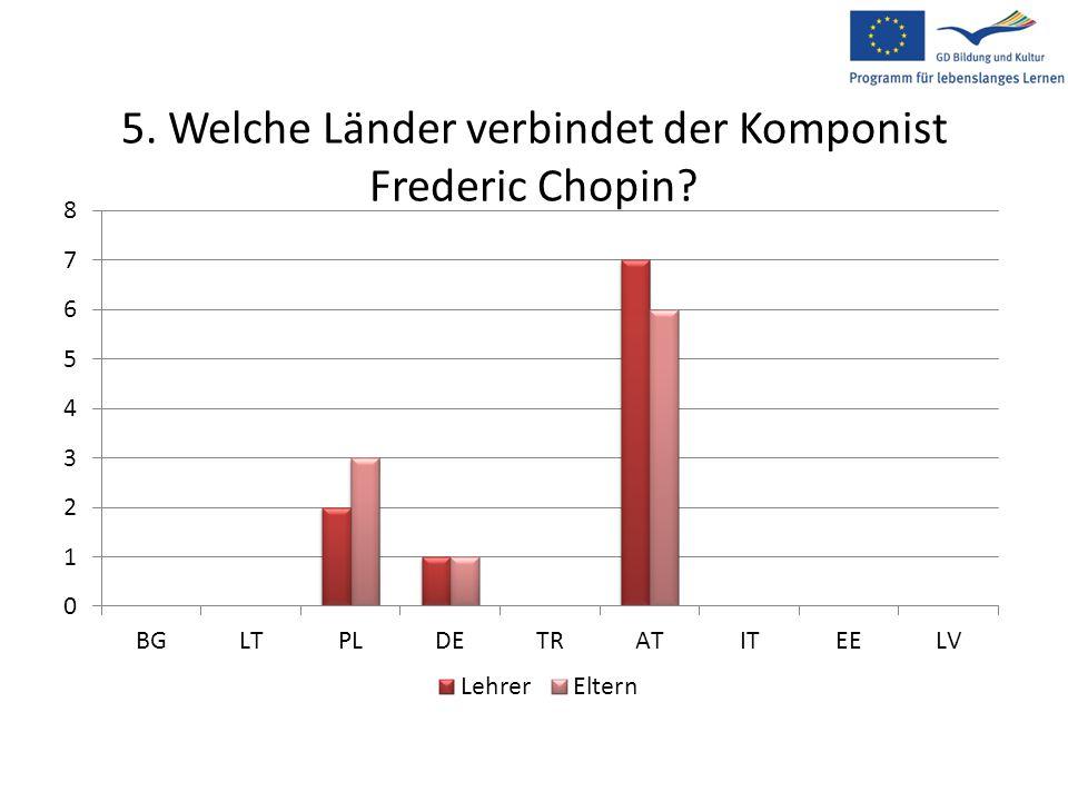 5. Welche Länder verbindet der Komponist Frederic Chopin?