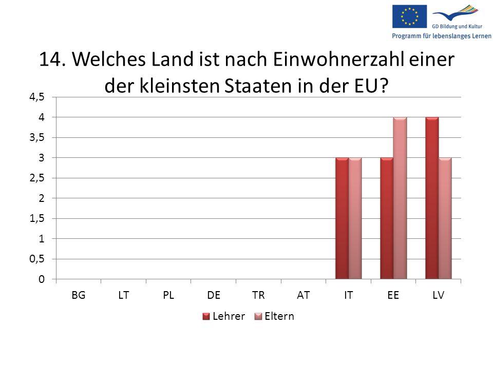 14. Welches Land ist nach Einwohnerzahl einer der kleinsten Staaten in der EU?