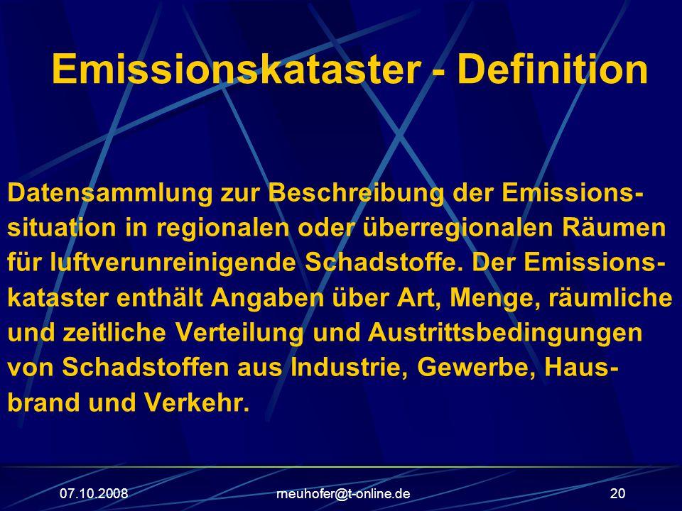 07.10.2008rneuhofer@t-online.de20 Emissionskataster - Definition Datensammlung zur Beschreibung der Emissions- situation in regionalen oder überregionalen Räumen für luftverunreinigende Schadstoffe.