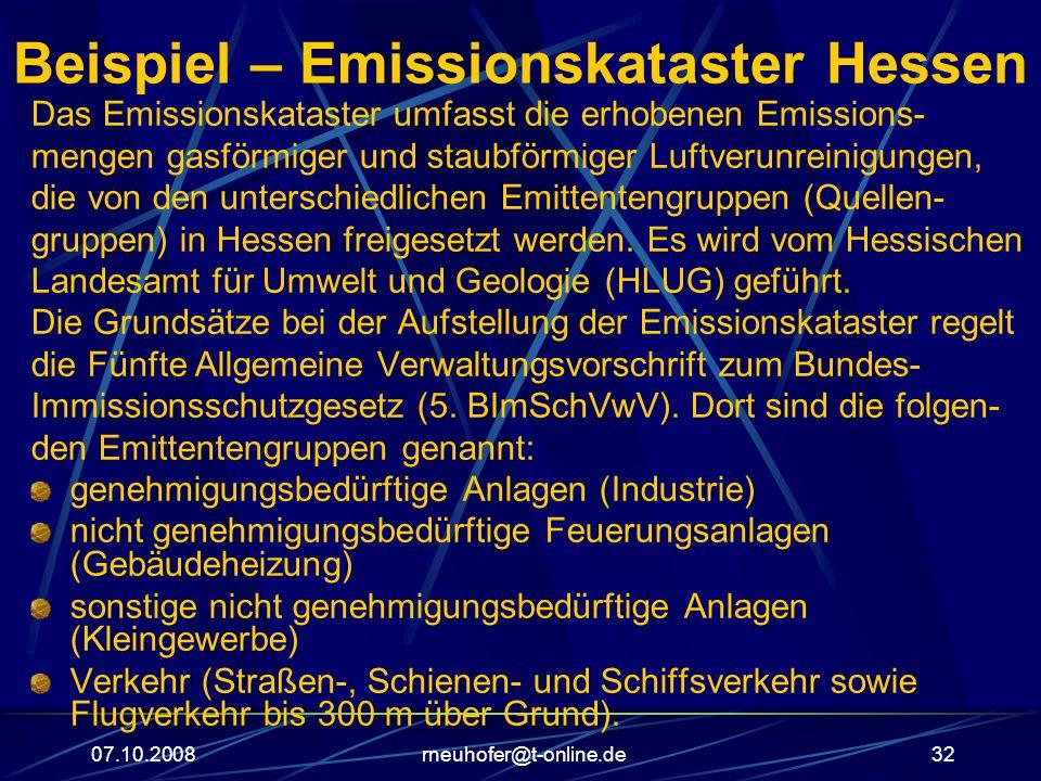 07.10.2008rneuhofer@t-online.de32 Beispiel – Emissionskataster Hessen Das Emissionskataster umfasst die erhobenen Emissions- mengen gasförmiger und staubförmiger Luftverunreinigungen, die von den unterschiedlichen Emittentengruppen (Quellen- gruppen) in Hessen freigesetzt werden.