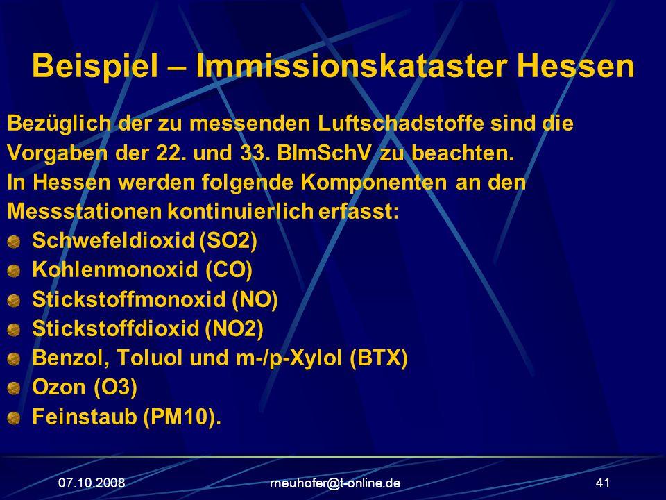07.10.2008rneuhofer@t-online.de41 Beispiel – Immissionskataster Hessen Bezüglich der zu messenden Luftschadstoffe sind die Vorgaben der 22.