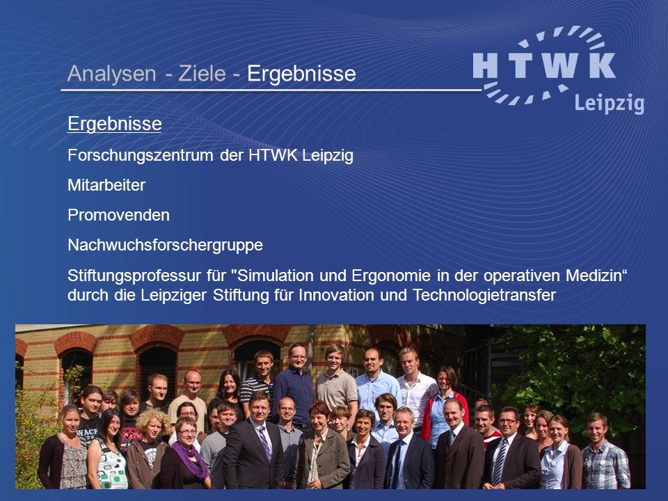 Ergebnisse Forschungszentrum der HTWK Leipzig Mitarbeiter Promovenden Nachwuchsforschergruppe Stiftungsprofessur für
