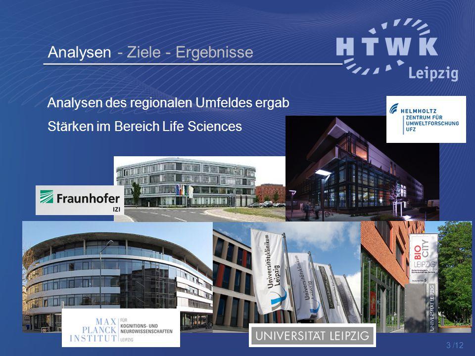 Analysen - Ziele - Ergebnisse Analysen des regionalen Umfeldes ergab Stärken im Bereich Life Sciences 3 /12