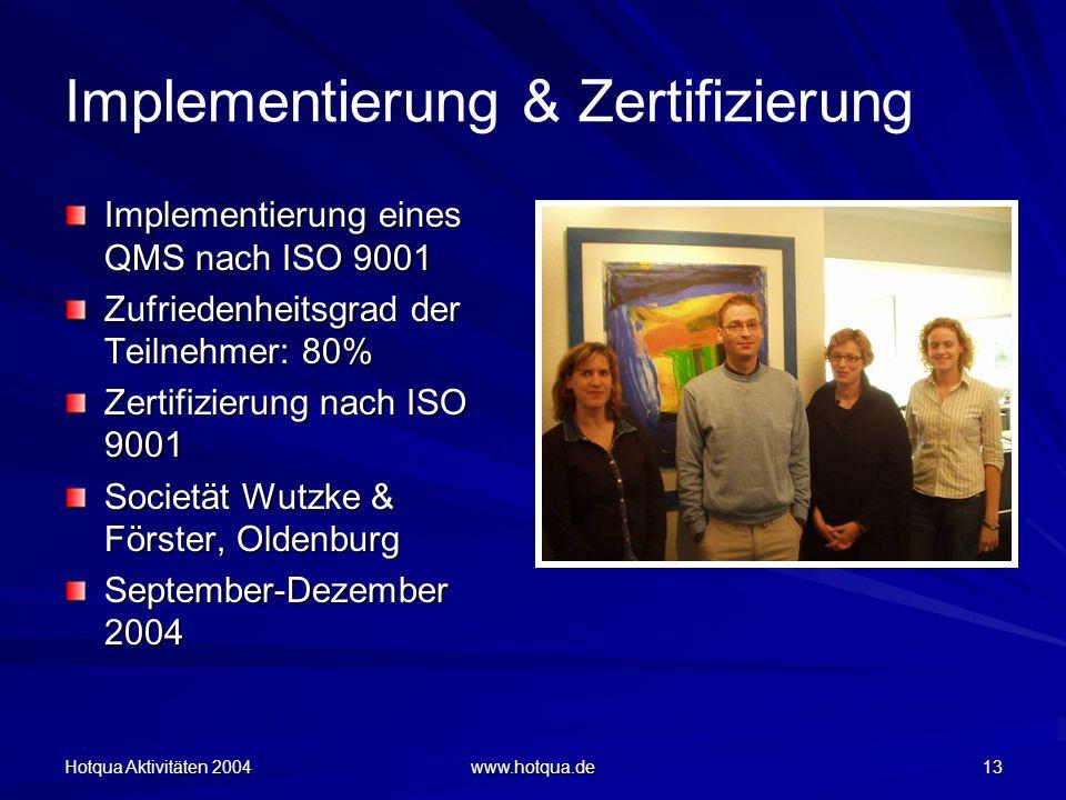 Hotqua Aktivitäten 2004 www.hotqua.de 13 Implementierung & Zertifizierung Implementierung eines QMS nach ISO 9001 Zufriedenheitsgrad der Teilnehmer: 80% Zertifizierung nach ISO 9001 Societät Wutzke & Förster, Oldenburg September-Dezember 2004