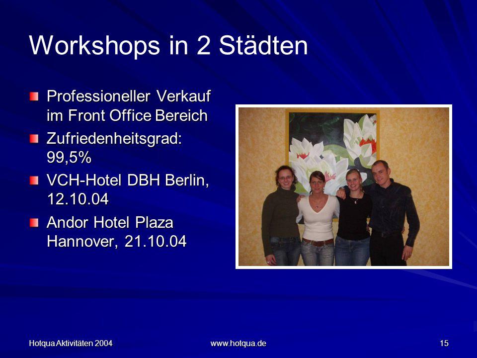 Hotqua Aktivitäten 2004 www.hotqua.de 15 Workshops in 2 Städten Professioneller Verkauf im Front Office Bereich Zufriedenheitsgrad: 99,5% VCH-Hotel DBH Berlin, 12.10.04 Andor Hotel Plaza Hannover, 21.10.04