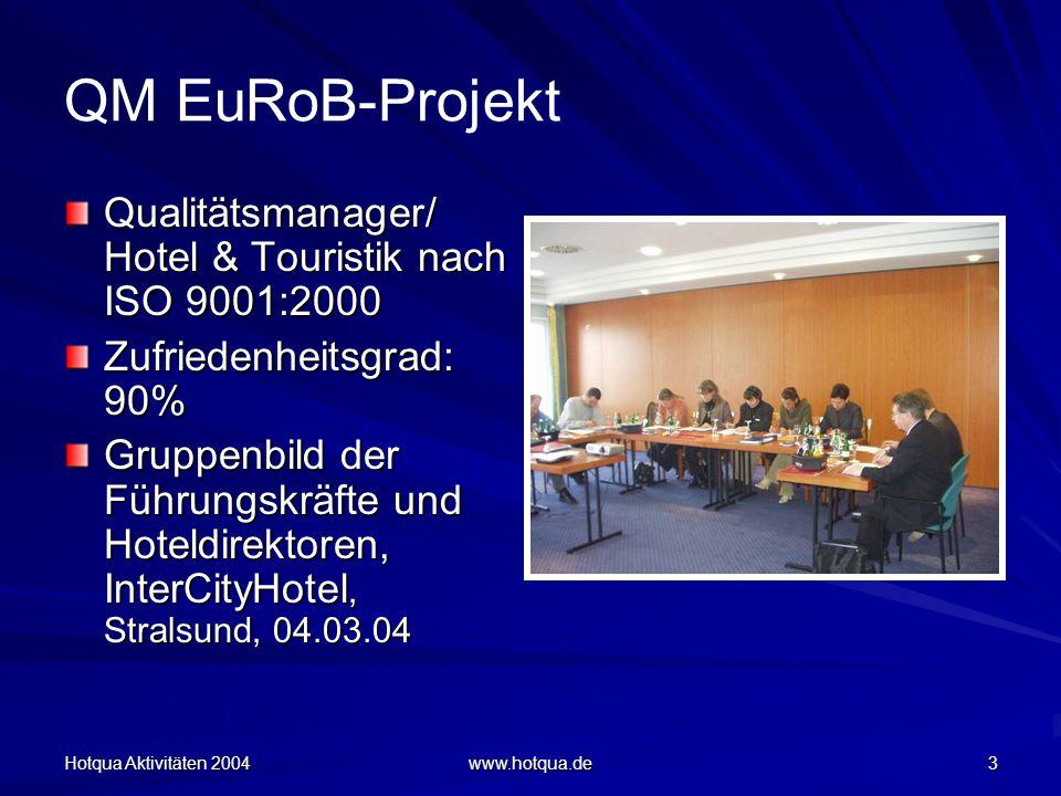 Hotqua Aktivitäten 2004 www.hotqua.de 3 QM EuRoB-Projekt Qualitätsmanager/ Hotel & Touristik nach ISO 9001:2000 Zufriedenheitsgrad: 90% Gruppenbild der Führungskräfte und Hoteldirektoren, InterCityHotel, Stralsund, 04.03.04