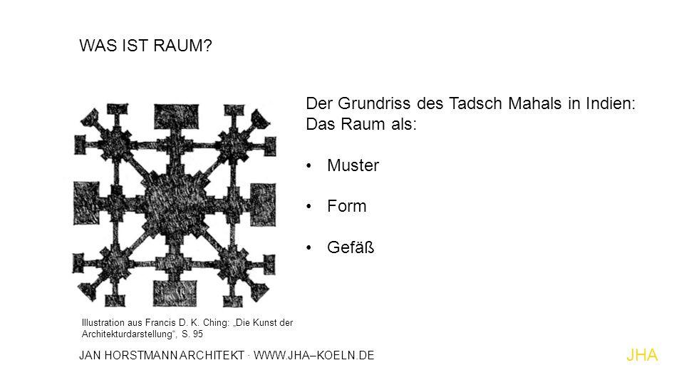 """WAS IST RAUM? Der Grundriss des Tadsch Mahals in Indien: Das Raum als: Muster Form Gefäß Illustration aus Francis D. K. Ching: """"Die Kunst der Architek"""