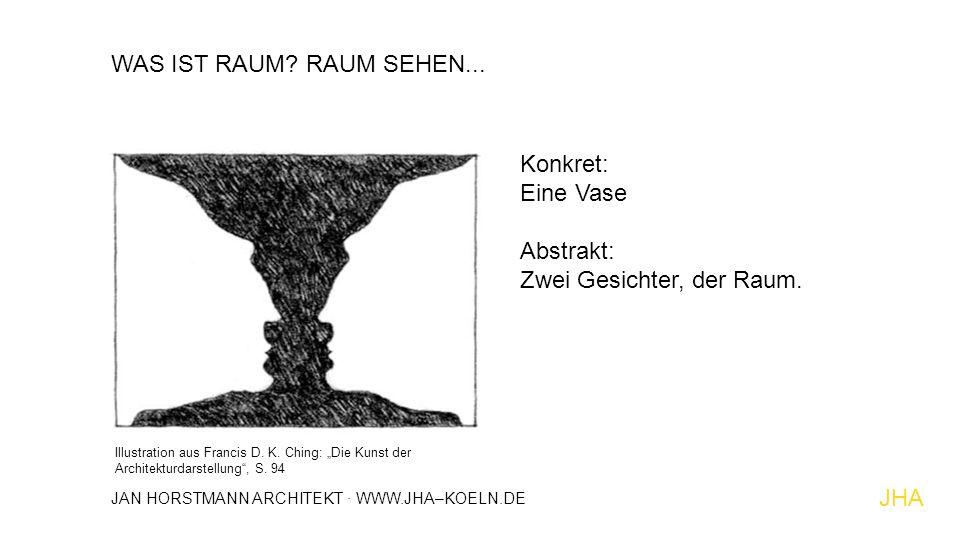 """WAS IST RAUM? RAUM SEHEN... Konkret: Eine Vase Abstrakt: Zwei Gesichter, der Raum. Illustration aus Francis D. K. Ching: """"Die Kunst der Architekturdar"""