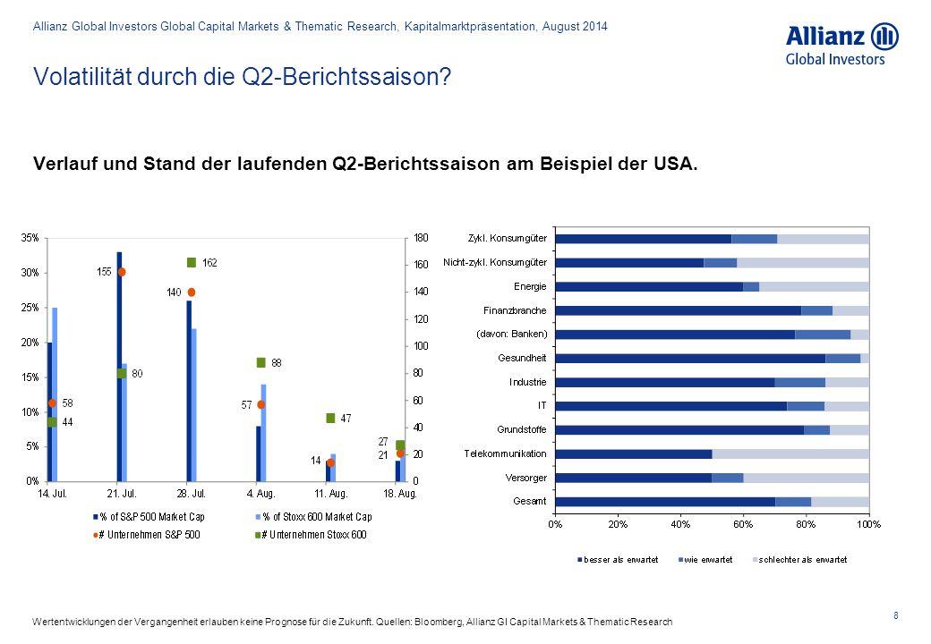 8 Verlauf und Stand der laufenden Q2-Berichtssaison am Beispiel der USA. Volatilität durch die Q2-Berichtssaison? Allianz Global Investors Global Capi