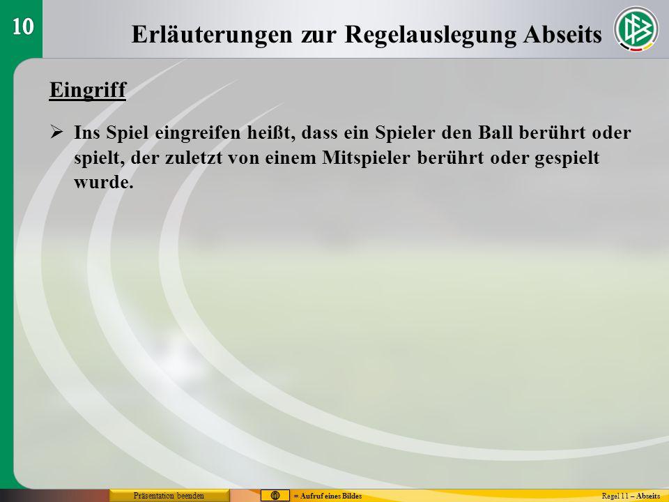 Erläuterungen zur Regelauslegung Abseits Regel 11 – Abseits Eingriff  Ins Spiel eingreifen heißt, dass ein Spieler den Ball berührt oder spielt, der
