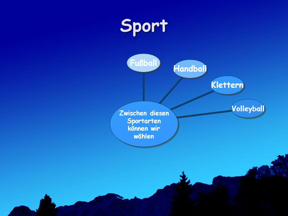 Sport Zwischen diesen Sportarten können wir wählen FußballHandballKletternVolleyball