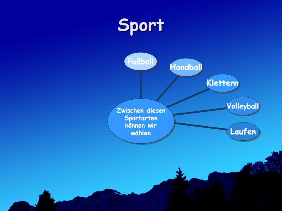 Sport Zwischen diesen Sportarten können wir wählen FußballHandballKletternVolleyballLaufen