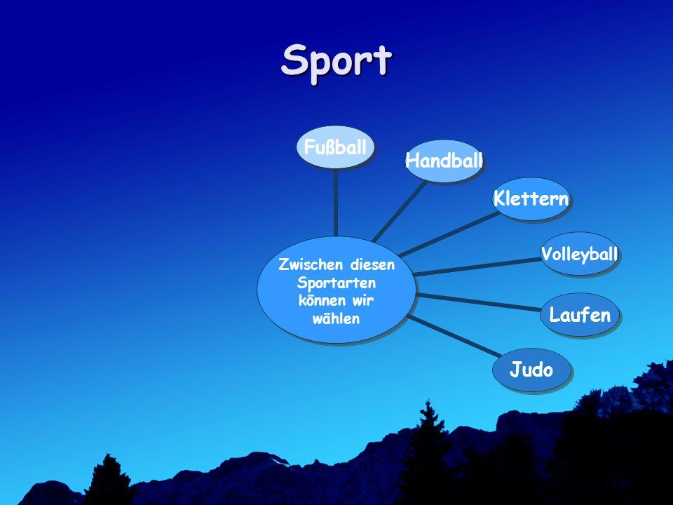 Sport Zwischen diesen Sportarten können wir wählen FußballHandballKletternVolleyballLaufenJudo