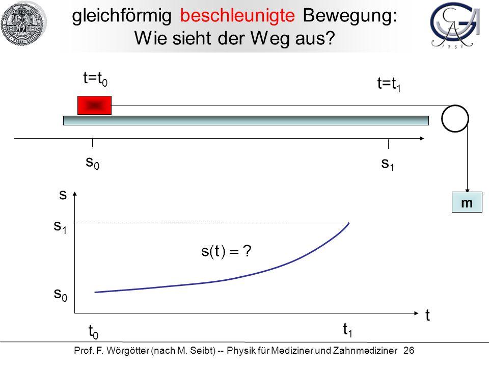 Prof. F. Wörgötter (nach M. Seibt) -- Physik für Mediziner und Zahnmediziner 26 gleichförmig beschleunigte Bewegung: Wie sieht der Weg aus? t=t 0 s0s0