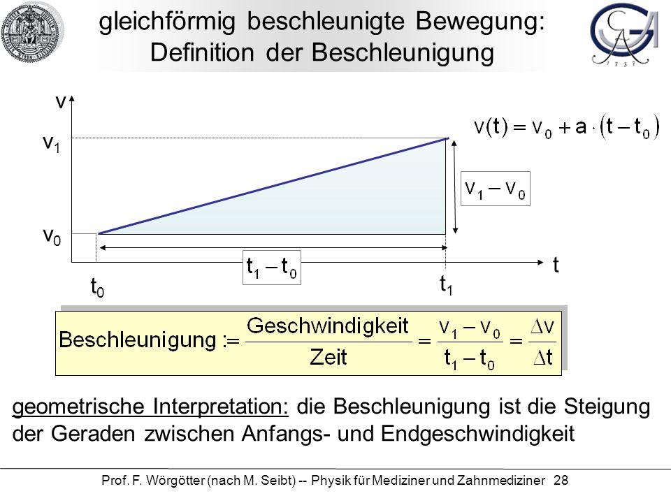 Prof. F. Wörgötter (nach M. Seibt) -- Physik für Mediziner und Zahnmediziner 28 gleichförmig beschleunigte Bewegung: Definition der Beschleunigung t v