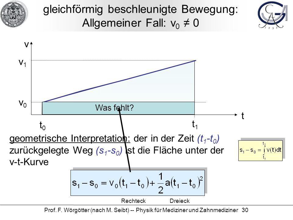 Prof. F. Wörgötter (nach M. Seibt) -- Physik für Mediziner und Zahnmediziner 30 gleichförmig beschleunigte Bewegung: Allgemeiner Fall: v 0 ≠ 0 geometr