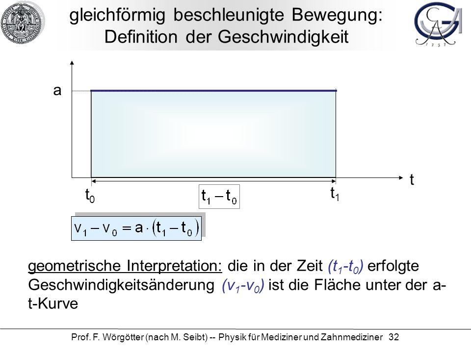 Prof. F. Wörgötter (nach M. Seibt) -- Physik für Mediziner und Zahnmediziner 32 gleichförmig beschleunigte Bewegung: Definition der Geschwindigkeit t