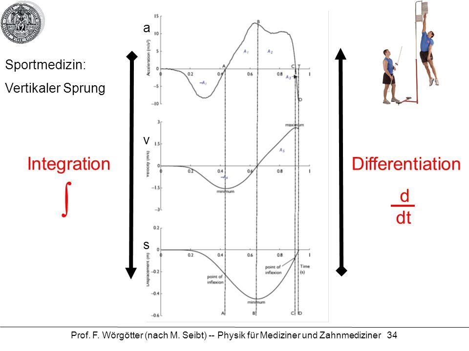 Prof. F. Wörgötter (nach M. Seibt) -- Physik für Mediziner und Zahnmediziner 34 Sportmedizin: Vertikaler Sprung Integration Differentiation d dt ∫ s v