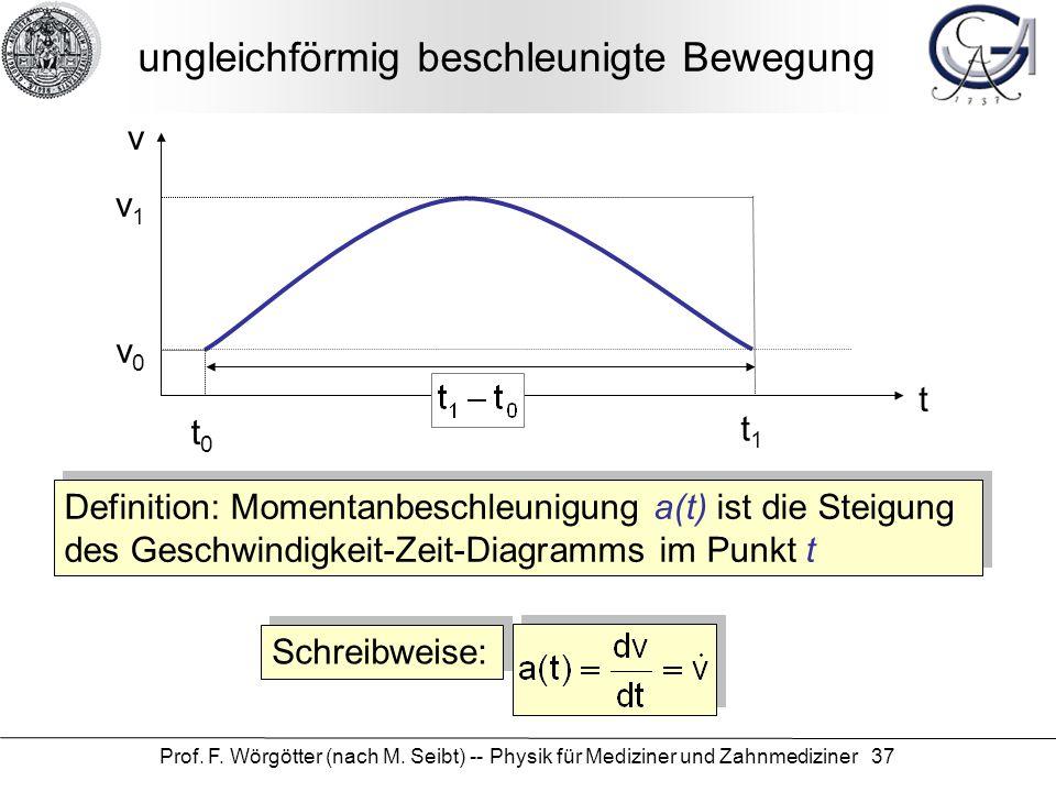 Prof. F. Wörgötter (nach M. Seibt) -- Physik für Mediziner und Zahnmediziner 37 ungleichförmig beschleunigte Bewegung t v v0v0 t0t0 t1t1 v1v1 Definiti