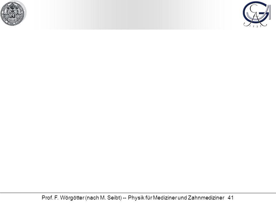 Prof. F. Wörgötter (nach M. Seibt) -- Physik für Mediziner und Zahnmediziner 41