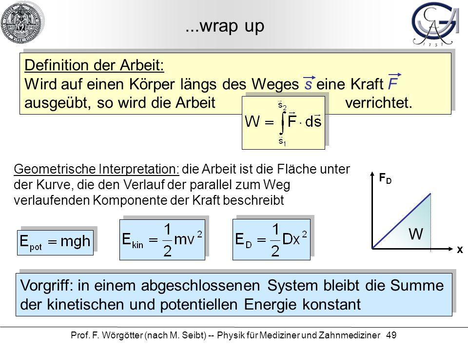Prof. F. Wörgötter (nach M. Seibt) -- Physik für Mediziner und Zahnmediziner 49...wrap up Definition der Arbeit: Wird auf einen Körper längs des Weges