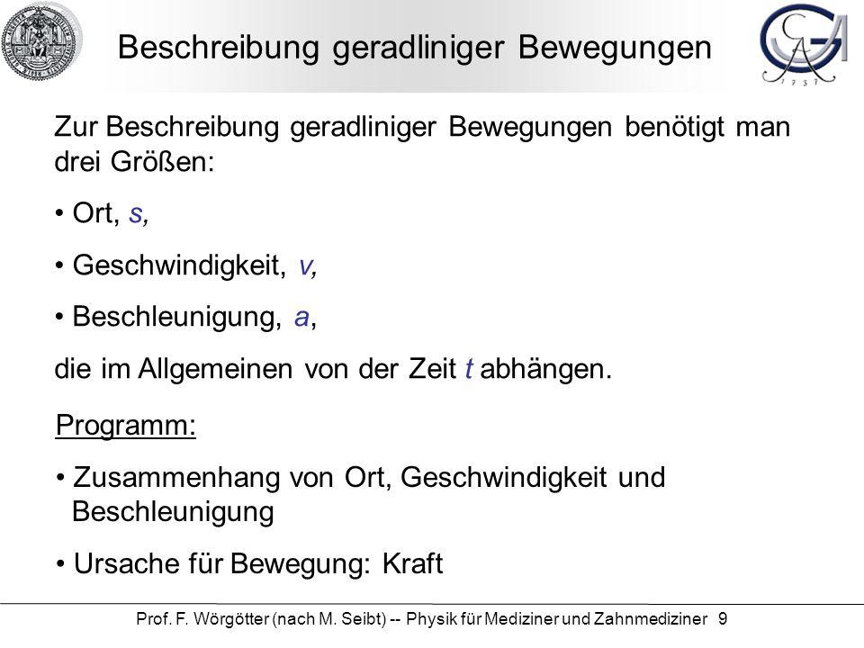 Prof. F. Wörgötter (nach M. Seibt) -- Physik für Mediziner und Zahnmediziner 9 Beschreibung geradliniger Bewegungen Zur Beschreibung geradliniger Bewe