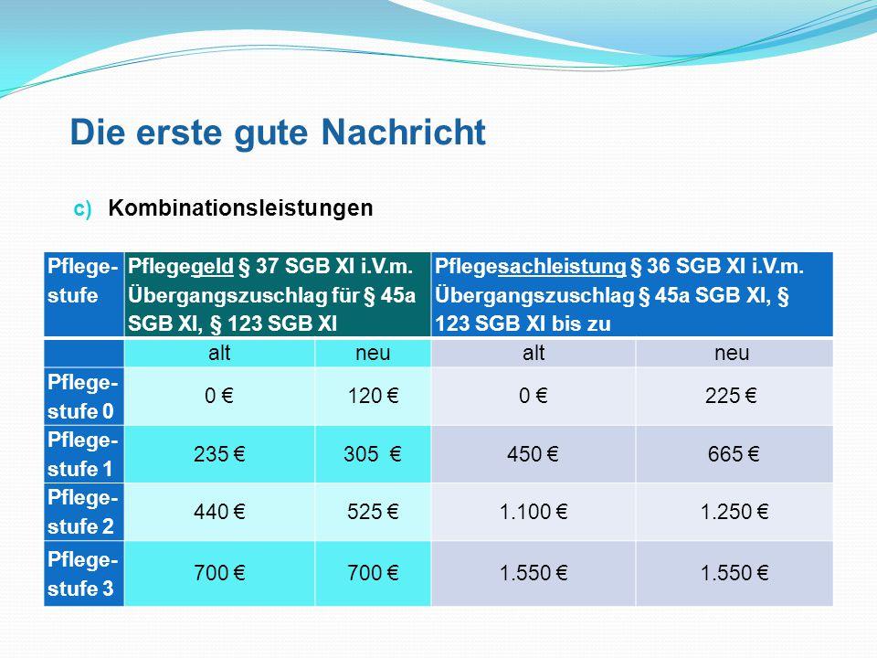 Die erste gute Nachricht c) Kombinationsleistungen Pflege- stufe Pflegegeld § 37 SGB XI i.V.m. Übergangszuschlag für § 45a SGB XI, § 123 SGB XI Pfleg
