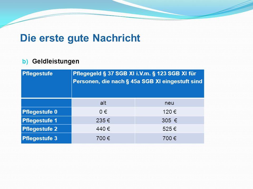 Die erste gute Nachricht c) Kombinationsleistungen Bei Kombinationsleistungen (Sachleistungen und Geldleistungen anteilig) werden ebenfalls die erhöhten Beträge zugrunde gelegt (Ausnahme: Pflegestufe 3).