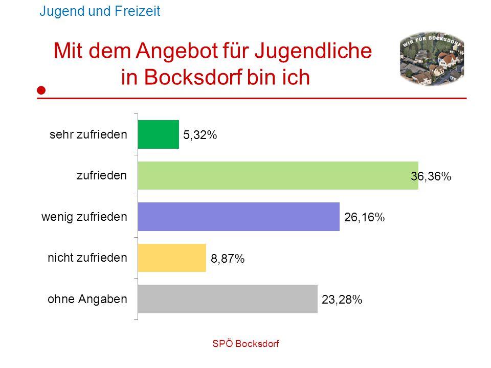 SPÖ Bocksdorf Jugend und Freizeit Mit dem Angebot für Jugendliche in Bocksdorf bin ich