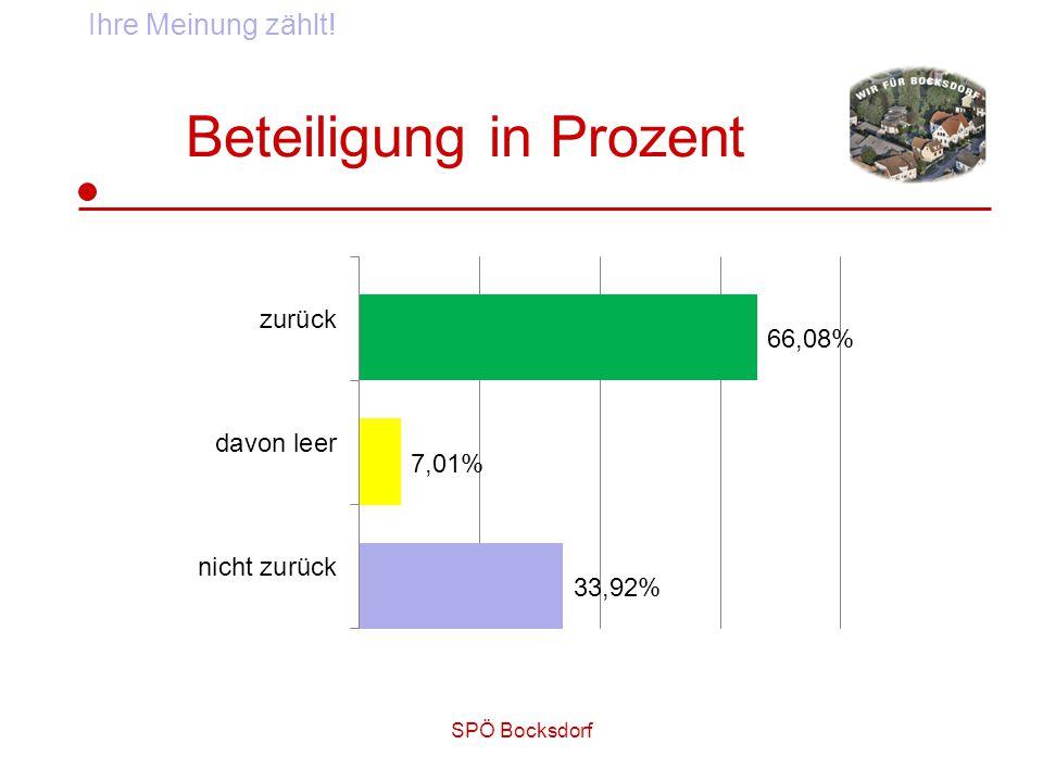 SPÖ Bocksdorf Beteiligung in Prozent Ihre Meinung zählt!