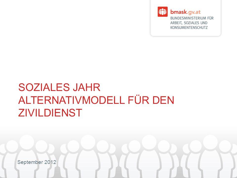 September 2012 SOZIALES JAHR ALTERNATIVMODELL FÜR DEN ZIVILDIENST