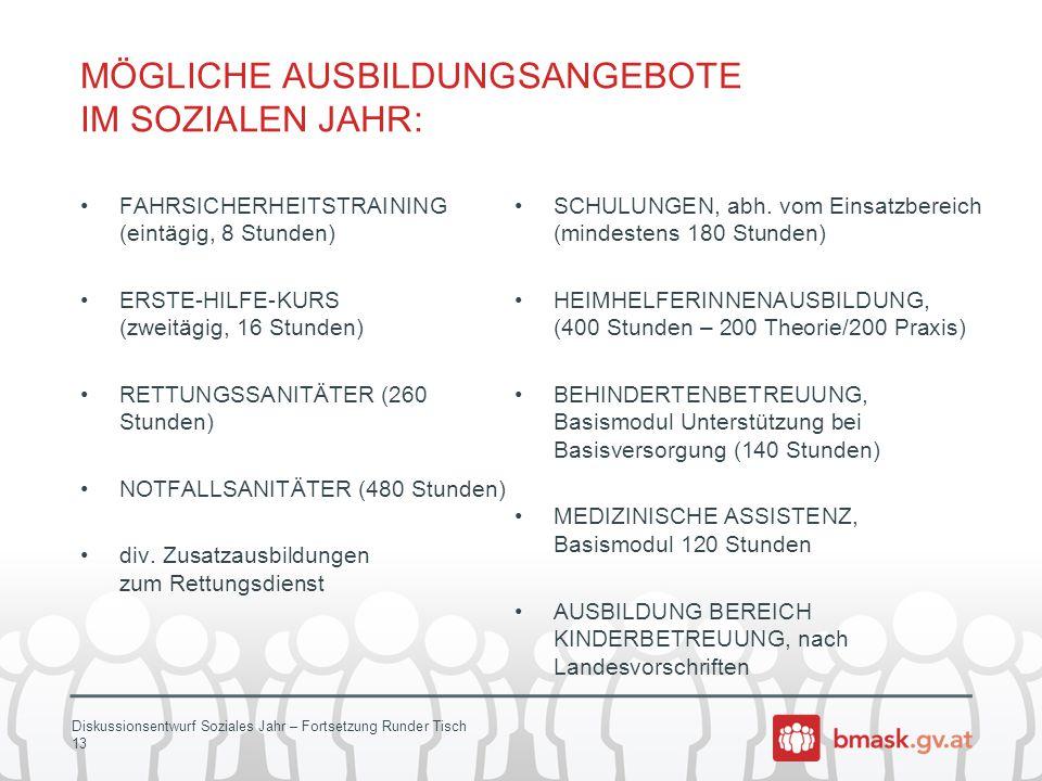 Diskussionsentwurf Soziales Jahr – Fortsetzung Runder Tisch 13 MÖGLICHE AUSBILDUNGSANGEBOTE IM SOZIALEN JAHR: FAHRSICHERHEITSTRAINING (eintägig, 8 Stu