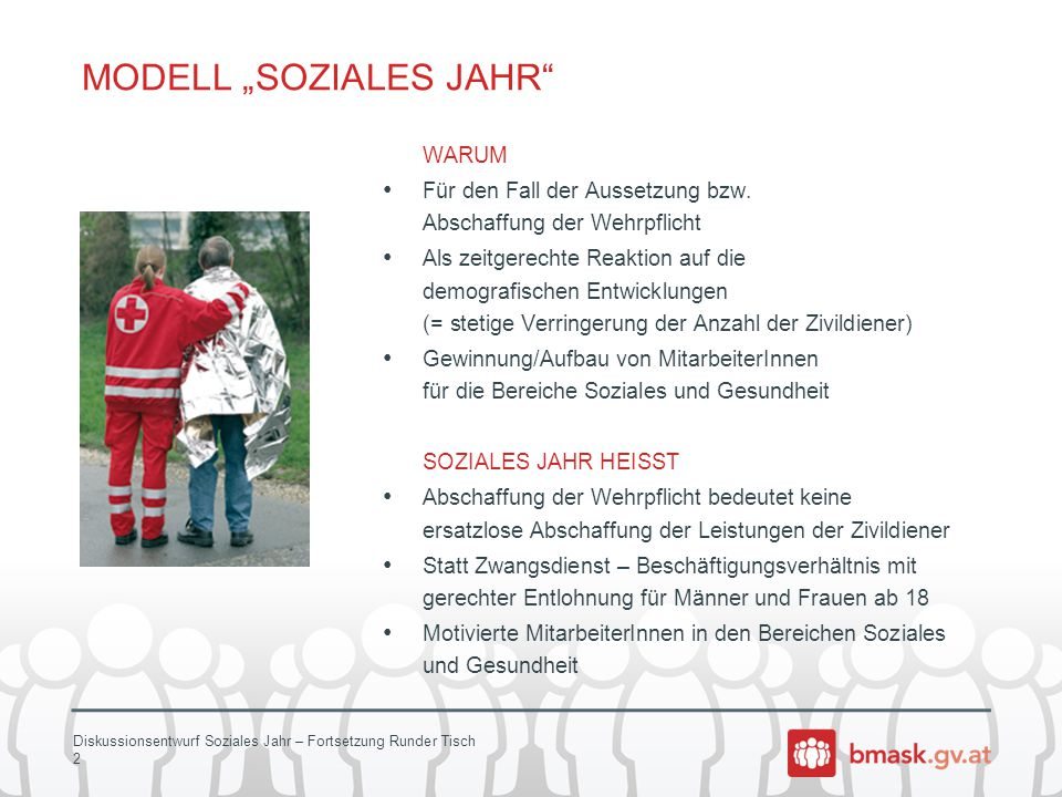 """Diskussionsentwurf Soziales Jahr – Fortsetzung Runder Tisch 2 MODELL """"SOZIALES JAHR"""" WARUM Für den Fall der Aussetzung bzw. Abschaffung der Wehrpflich"""