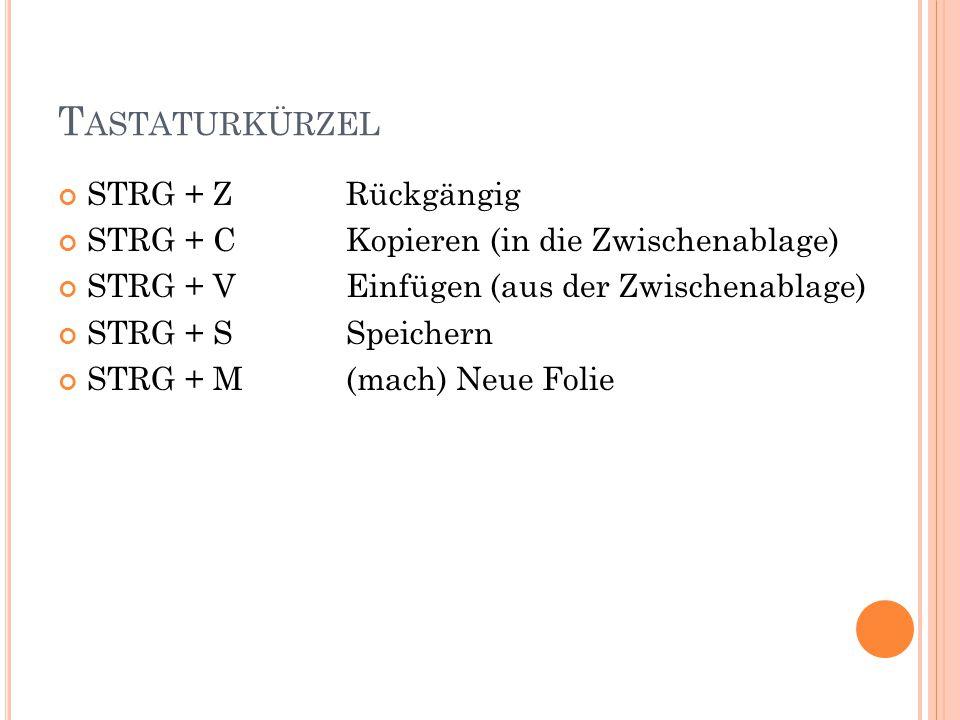 T ASTATURKÜRZEL STRG + ZRückgängig STRG + CKopieren (in die Zwischenablage) STRG + VEinfügen (aus der Zwischenablage) STRG + SSpeichern STRG + M(mach) Neue Folie