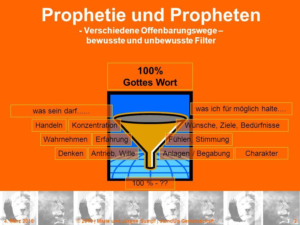 4. März 2010© 2010 | Marie und Jürgen Sumpf | standUp Gemeinschaft 2 Prophetie und Propheten - Verschiedene Offenbarungswege – bewusste und unbewusste
