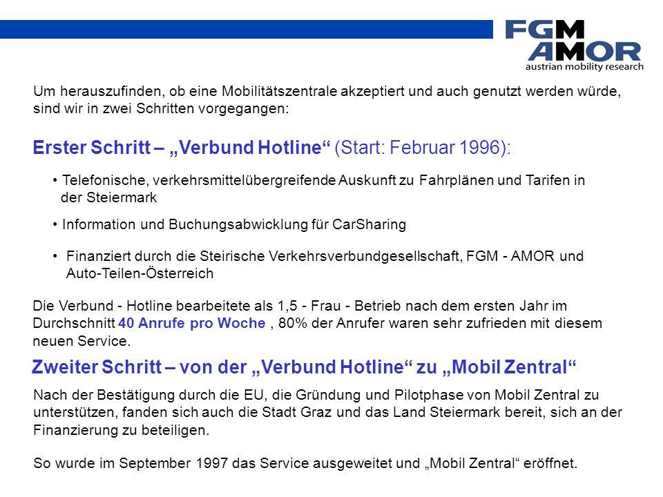 """So wurde im September 1997 das Service ausgeweitet und """"Mobil Zentral"""" eröffnet. Um herauszufinden, ob eine Mobilitätszentrale akzeptiert und auch gen"""