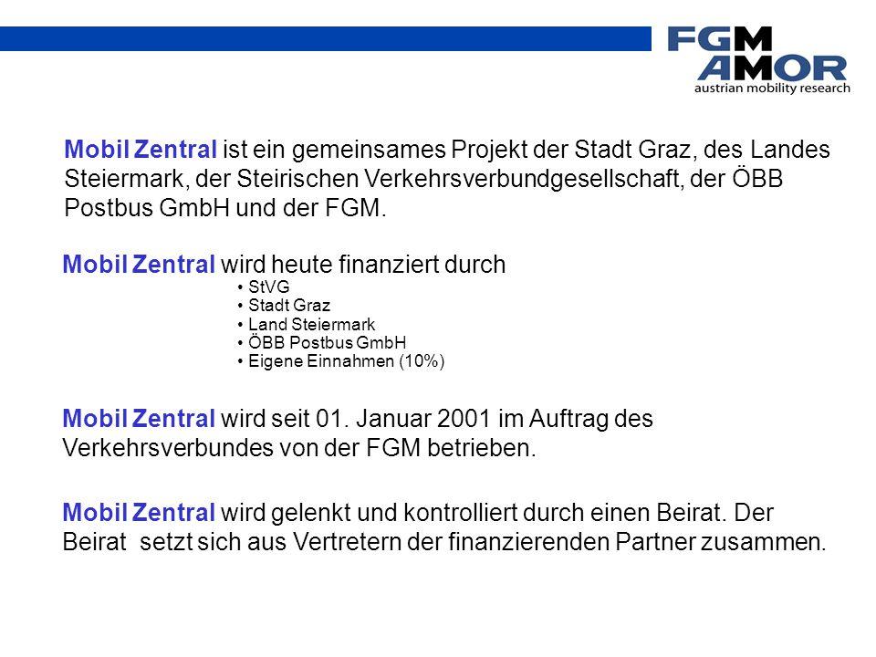 Mobil Zentral ist ein gemeinsames Projekt der Stadt Graz, des Landes Steiermark, der Steirischen Verkehrsverbundgesellschaft, der ÖBB Postbus GmbH und