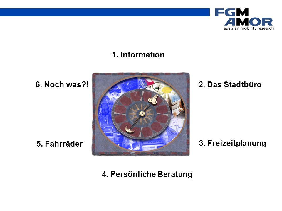 1. Information 3. Freizeitplanung 4. Persönliche Beratung 5. Fahrräder 2. Das Stadtbüro 6. Noch was?!