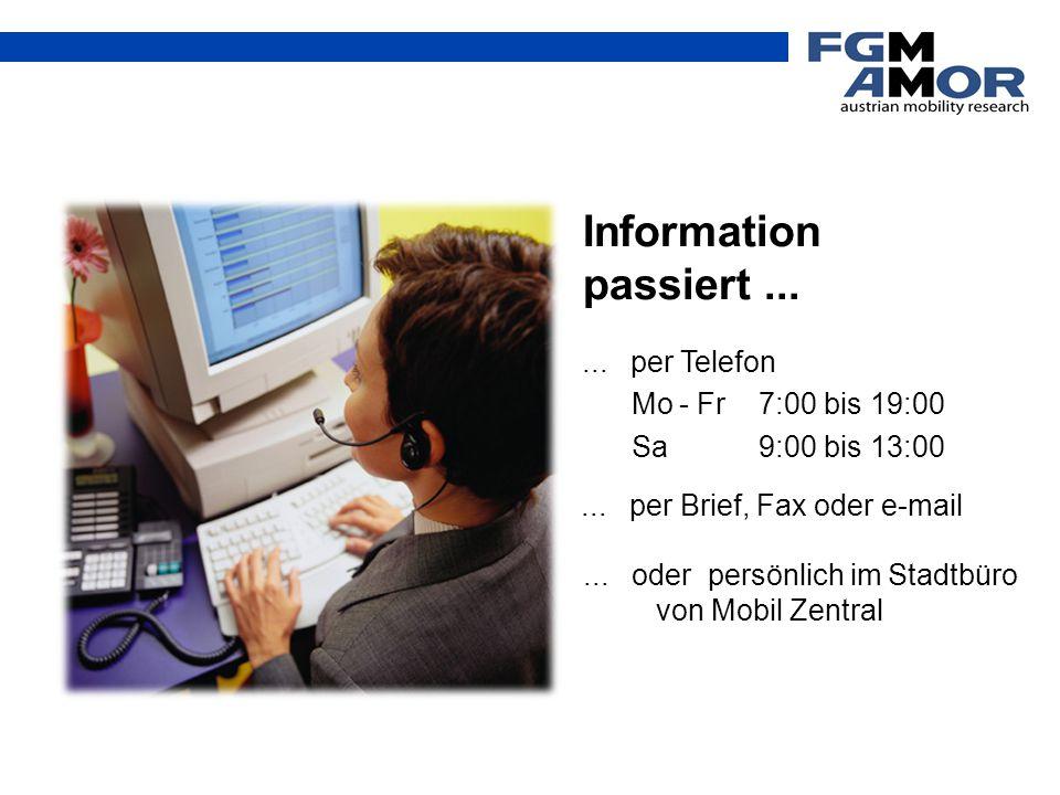Information passiert...... per Telefon Mo - Fr 7:00 bis 19:00 Sa9:00 bis 13:00... per Brief, Fax oder e-mail... oder persönlich im Stadtbüro von Mobil