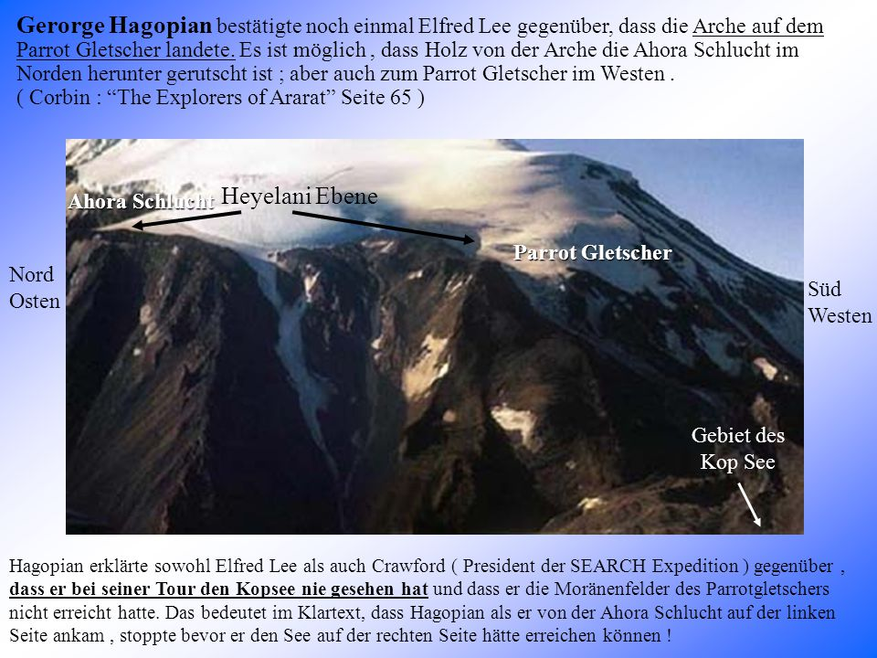 Gerorge Hagopian bestätigte noch einmal Elfred Lee gegenüber, dass die Arche auf dem Parrot Gletscher landete.