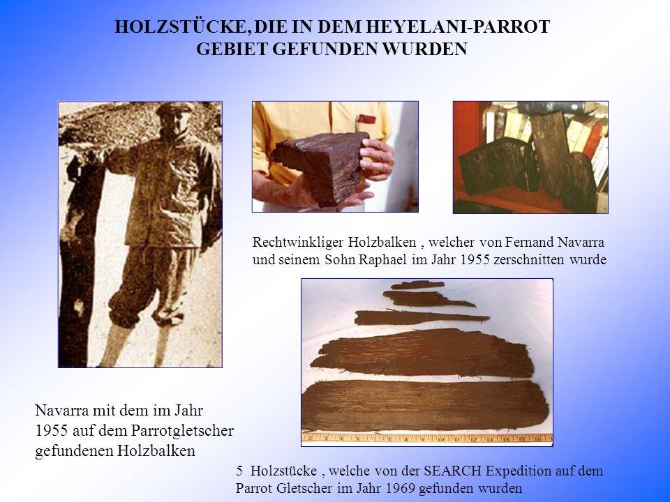 HOLZSTÜCKE, DIE IN DEM HEYELANI-PARROT GEBIET GEFUNDEN WURDEN Navarra mit dem im Jahr 1955 auf dem Parrotgletscher gefundenen Holzbalken Rechtwinkliger Holzbalken, welcher von Fernand Navarra und seinem Sohn Raphael im Jahr 1955 zerschnitten wurde 5 Holzstücke, welche von der SEARCH Expedition auf dem Parrot Gletscher im Jahr 1969 gefunden wurden