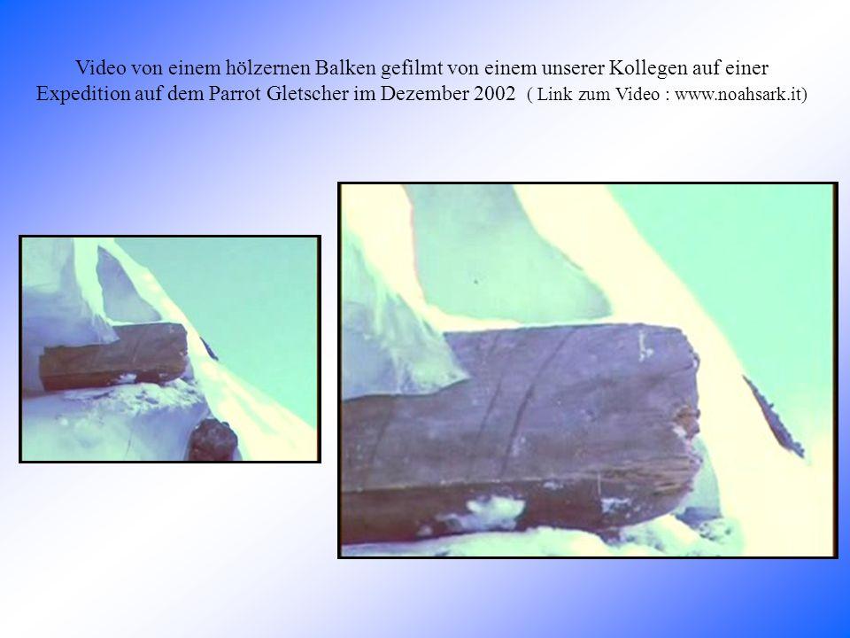 Video von einem hölzernen Balken gefilmt von einem unserer Kollegen auf einer Expedition auf dem Parrot Gletscher im Dezember 2002 ( Link zum Video : www.noahsark.it)