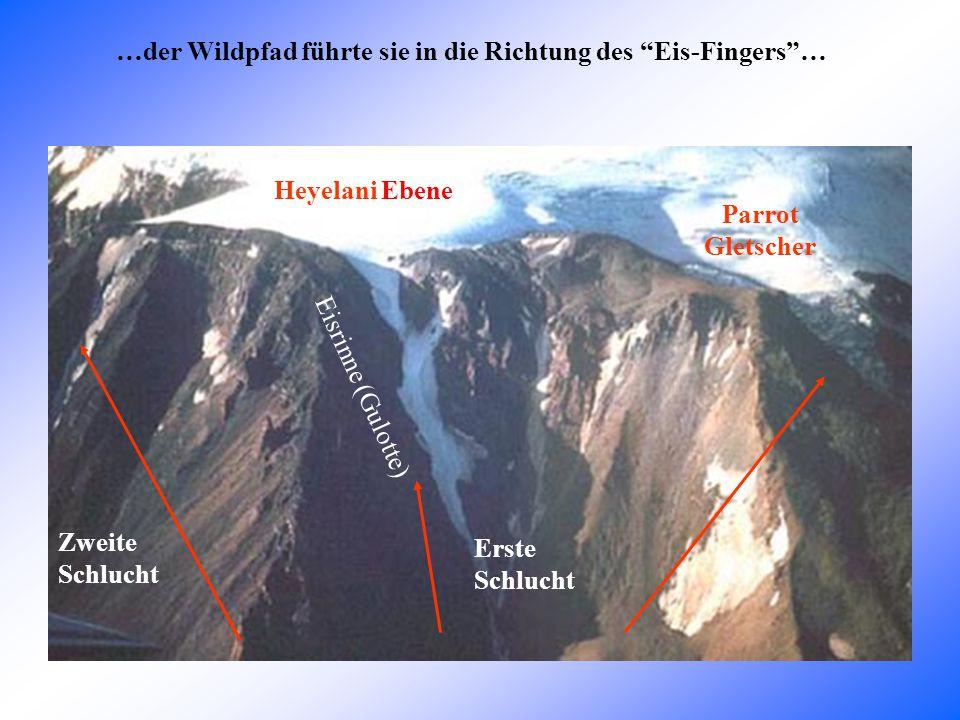 …der Wildpfad führte sie in die Richtung des Eis-Fingers … Parrot Gletscher Erste Schlucht Zweite Schlucht Heyelani Ebene Eisrinne (Gulotte)