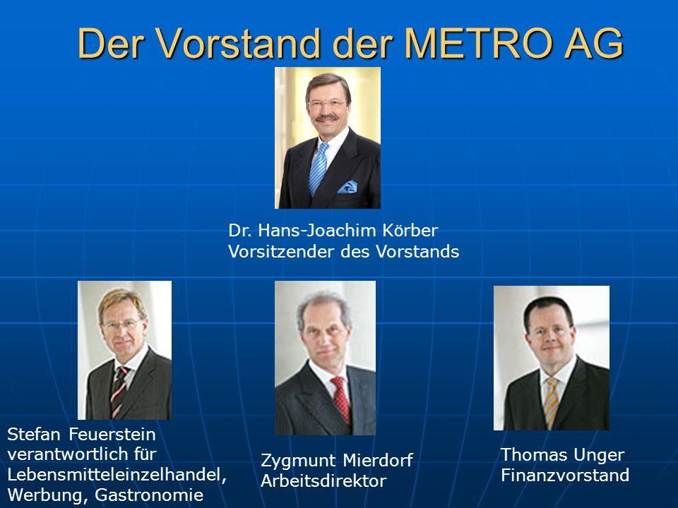 Der Vorstand der METRO AG Dr. Hans-Joachim K ö rber Vorsitzender des Vorstands Stefan Feuerstein verantwortlich f ü r Lebensmitteleinzelhandel, Werbun