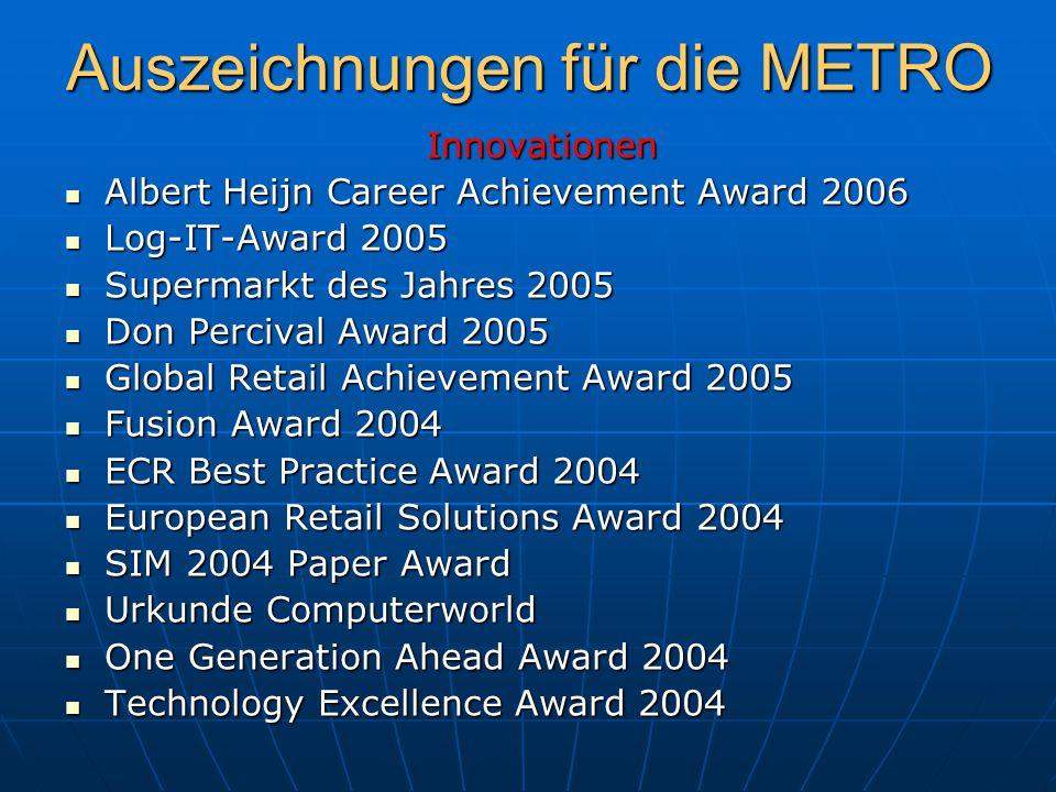 Innovationen Innovationen Albert Heijn Career Achievement Award 2006 Albert Heijn Career Achievement Award 2006 Log-IT-Award 2005 Log-IT-Award 2005 Su
