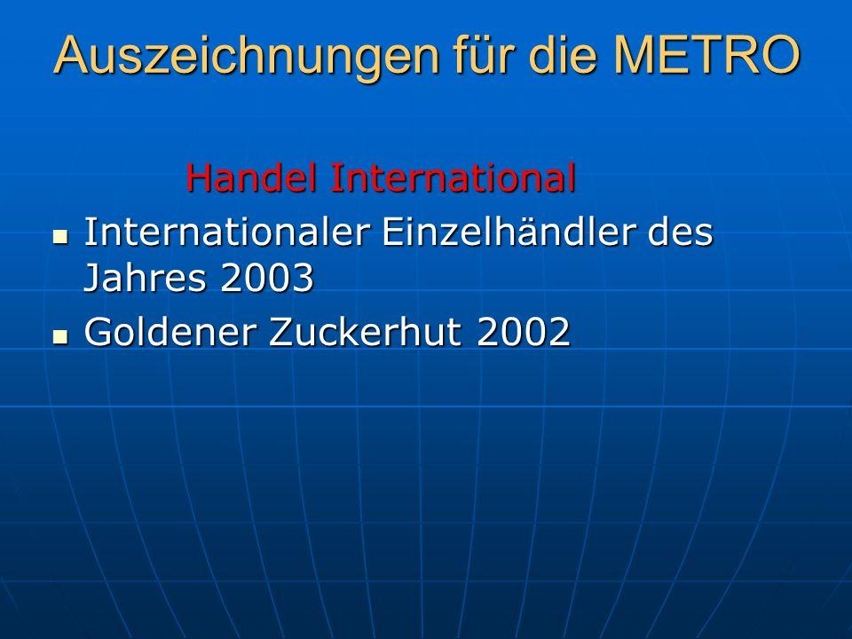 Auszeichnungen für die METRO Handel International Handel International Internationaler Einzelh ä ndler des Jahres 2003 Internationaler Einzelh ä ndler des Jahres 2003 Goldener Zuckerhut 2002 Goldener Zuckerhut 2002